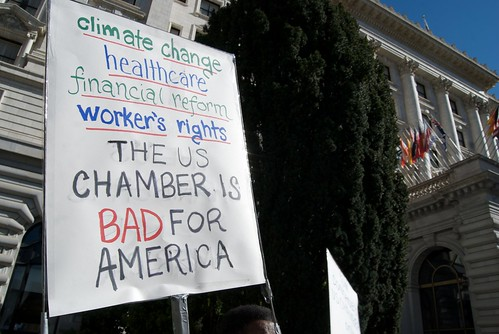 Protesting the Chamber of Commerce on climate outside their region meeting at the Fairmont Hotel in San Francisco | by Steve Rhodes