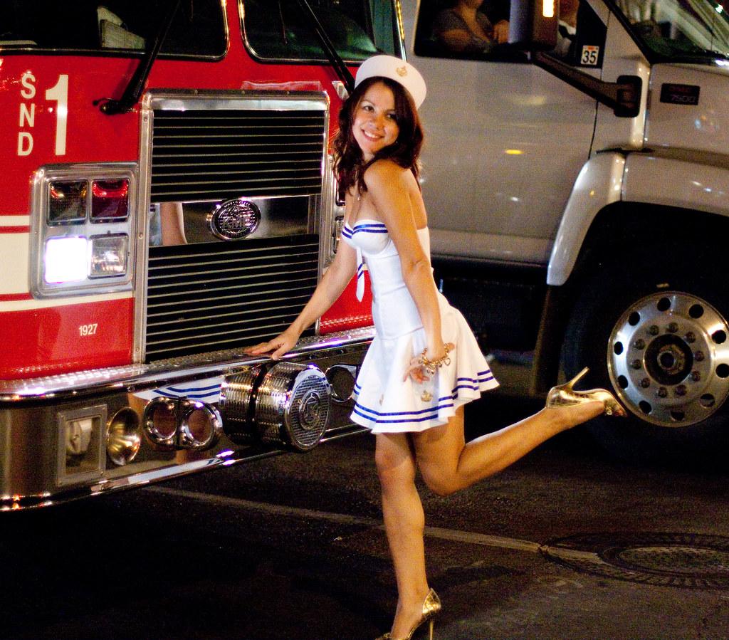 Sailor Girl Posing On Firetruck  For Her Boyfriend -9483