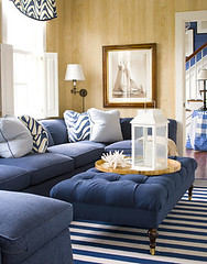 Classic Blue + White Nantucket Living Room: Faux Bois Wallpaper + Striped  Rug | By ...