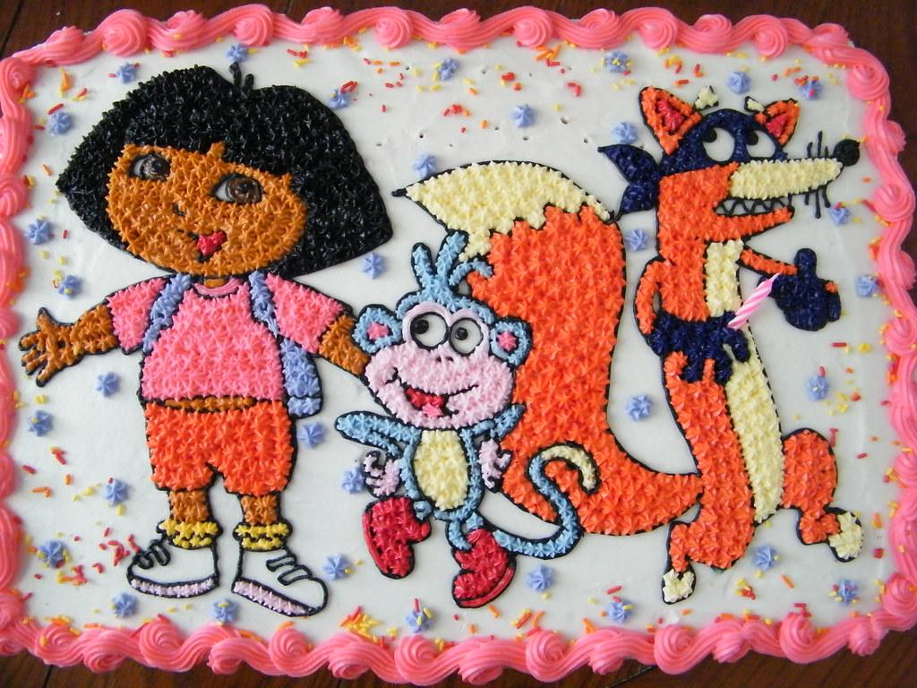 Dora Cake Recipe In English: Hand Drawn Dora Design On 1/2 Sheet Cake