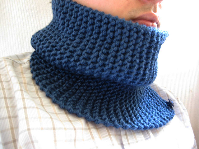 Hand knit chunky scarf neckwarmer cowl midnight blue for m ...