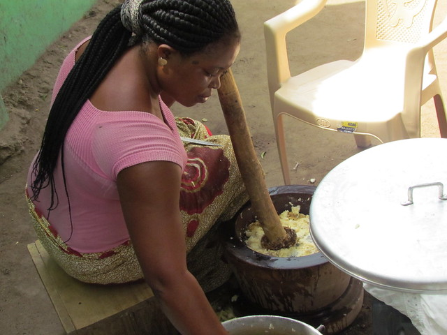 Pounding foufou in Ghana