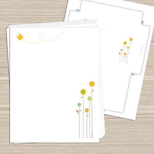 Spring Flowers Printable Stationery Notecards Tags Sti