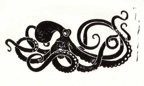 Linocut - Octopus | My first linocut in years . no