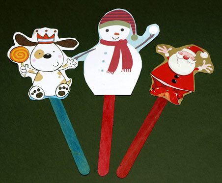Stick Puppets Another Use For Recycled Christmas Cards