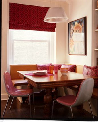 Pink in the kitchen banquette seating modern pink chair flickr