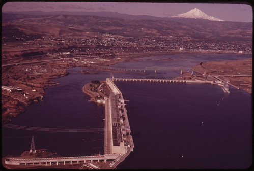 The Dalles Dam on the Columbia River. In Background Is Mt Hood Which, at 11,235 Ft. Elevation, Is the Highest Point in Oregon 06/1973 | by The U.S. National Archives
