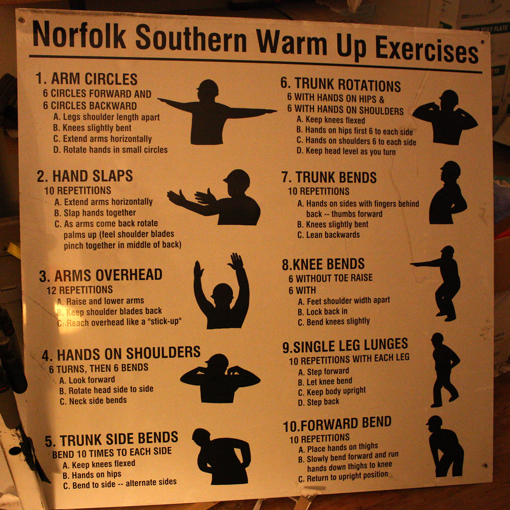 Norfolk Southern Warm Up Exercises work out sign   This ...