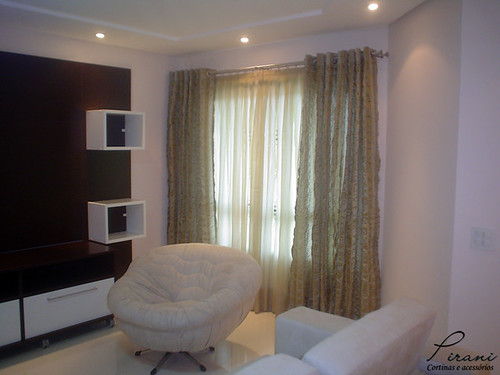 Cortina sala de estar cortina de voil de argola com xale for Cortinas para sala de estar