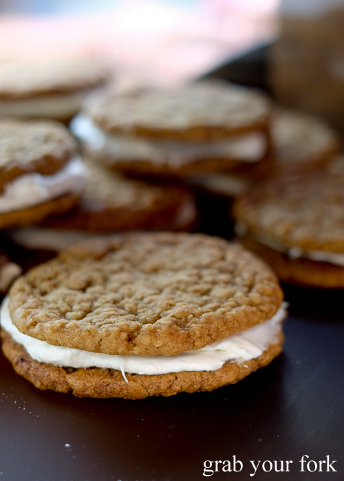 Oatmeal cream pie cookies by Bury Me Standing Coffee Co at the Salamanca Market in Hobart