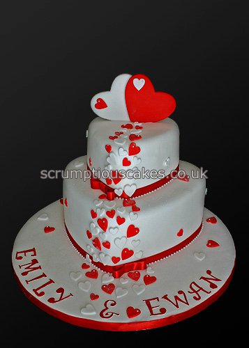 wedding cakes red wedding cake 733 amp white hearts paula 25346