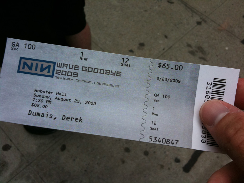 Nine Inch Nails at Webster Hall Ticket | NIN.com Ticket | Derek ...