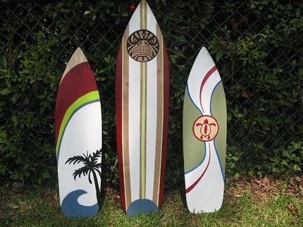 three & four foot wood surfboard wall art | Molly | Flickr