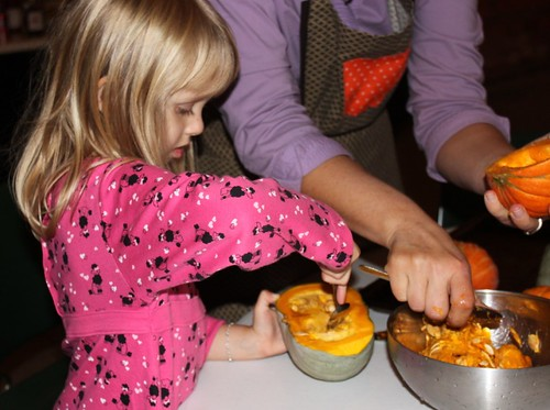harvest meal p scooping squash | by Rachel Tayse
