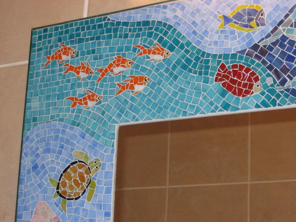 Bathroom Mosaic Mirror Quot Sea Life Quot Large Bathroom Mosaic