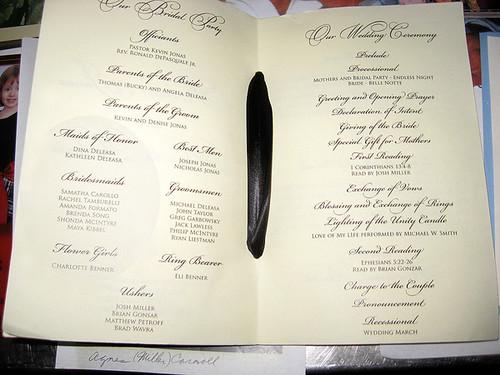 Kevindanielle Jonas Wedding Program