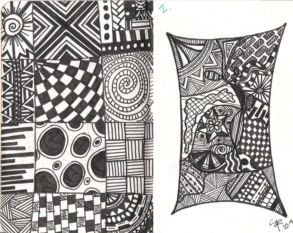 Line Drawing Zentangle : Pg random patterns first zentangle attempt