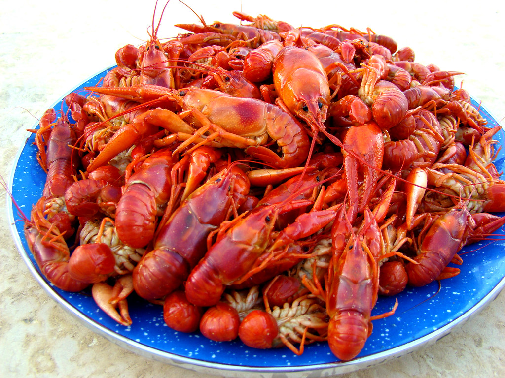 Plate of crawfish after a swim in spice | These crawfish wer… | Flickr