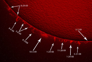 collection of solar prominences with dates | by boogerfingers