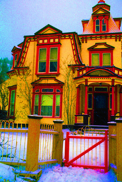 Art homage peter max victorian gingerbread house ghost flickr