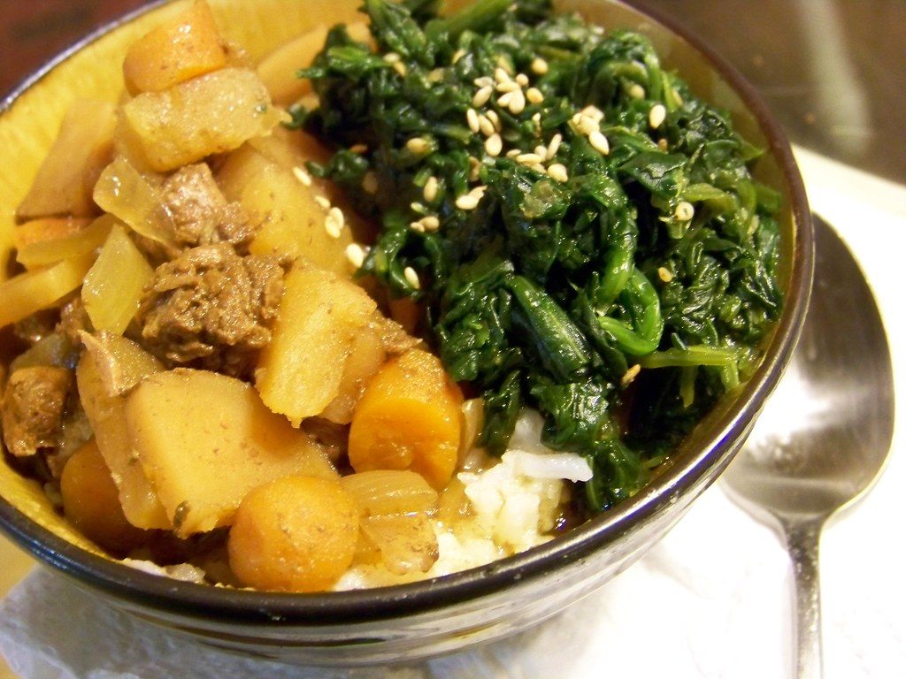 ... Jaga | Japanese beef stew with seasoned spinach over ri… | Flickr