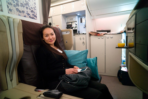 Mizuka in her ginormous SQ A380 business class seat | by Joi
