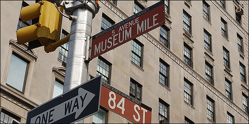 Museum Mile street sign, New York City