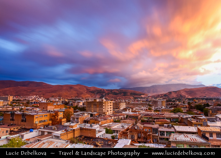 Iran Shiraz Sunrise Explosion Of Colors Over The City