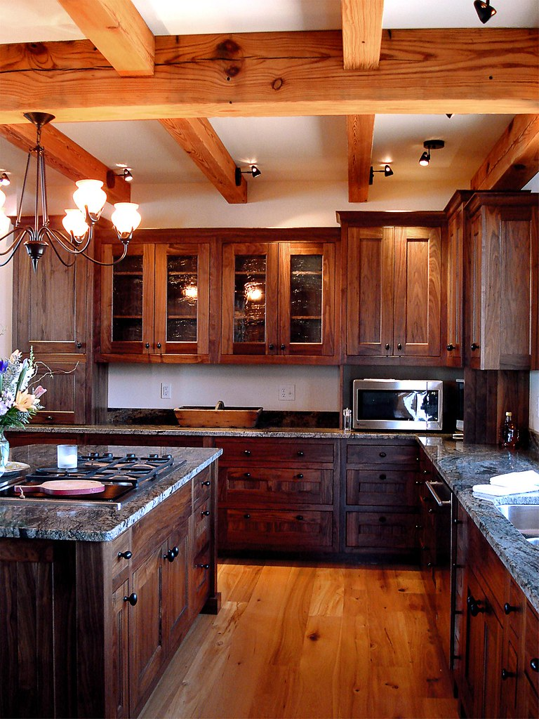 Custom Walnut Kitchen New Energy Works Timber Frame Home