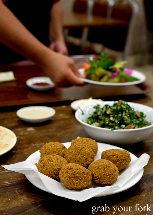 Falafel, tabbouleh and pickles at Jasmin1 in Punchbowl Sydney