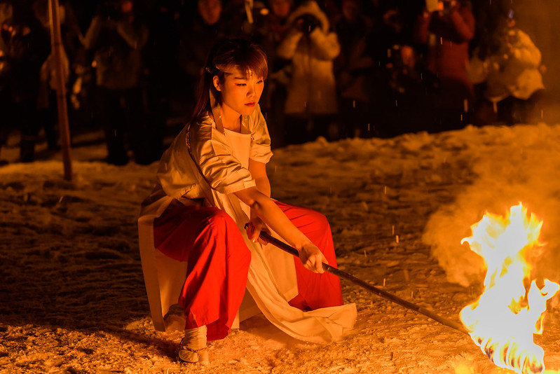 006 Traditional ritual ceremony of snow and fire in the village in the mountains,Otari,NAGANO 2017