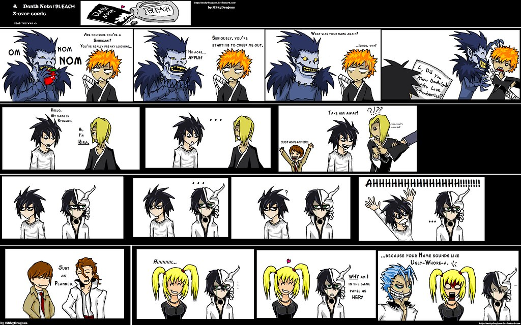 death note bleach crossover | 1-4th panel r both shinigami ...