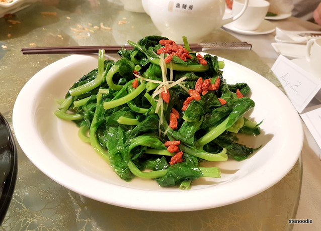 Stir-Fried Pea Sprouts with Roasted Garlic