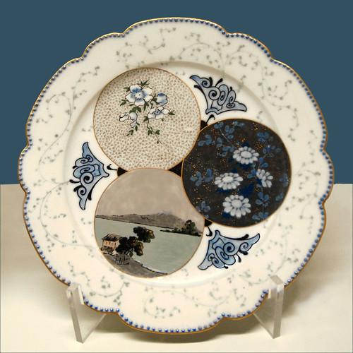 Assiette Porcelaine Decor Serviette Papier Motif Une Rose