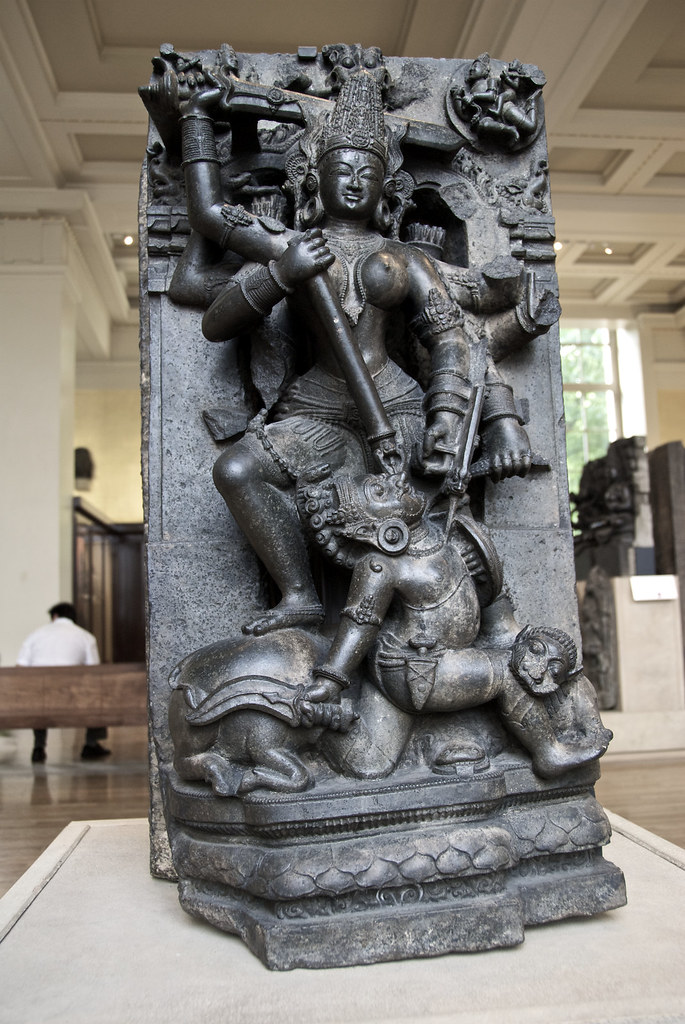 Stone sculpture of Durga Mahishasuramardini in the British ...