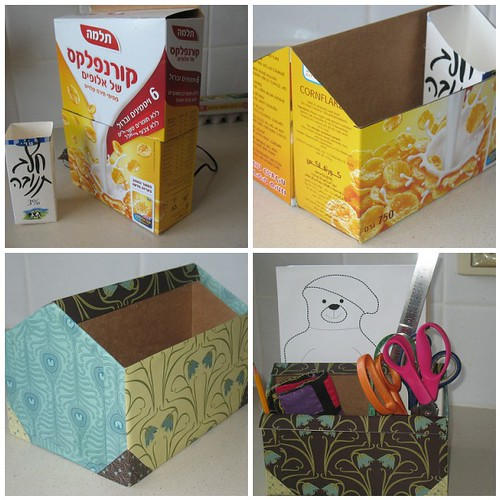 Utility box step by step 1 cut cereal box and milk for Cereal box organizer