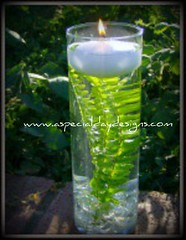 Submerged Foliage floating candle centerpiece | by A Special Day Designs, Placerville, California