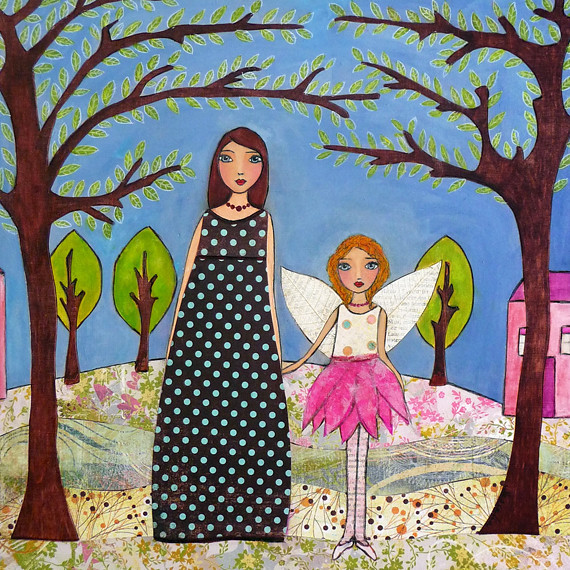 Mother And Daughter Mixed Media Art Collage Custom Paintin