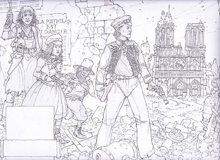 Steampunk Heroes - A group of steampunk heroes make their way through the ruins of Paris. A curiously altered Notre Dame stands in the background. This is the standard of finish for all roughs I present to my clients. | by widdershins3