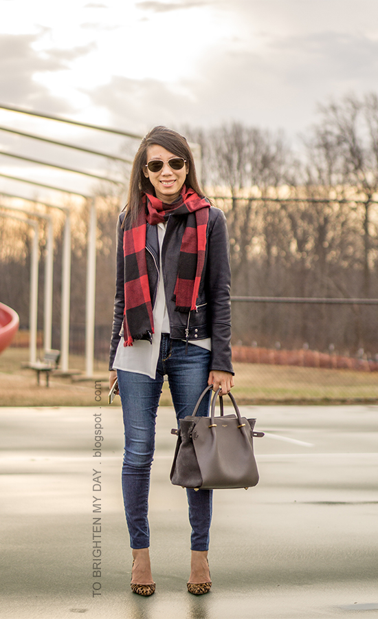 red buffalo check scarf, black leather jacket, white silk button up shirt, gray tote, skinny jeans, leopard pumps