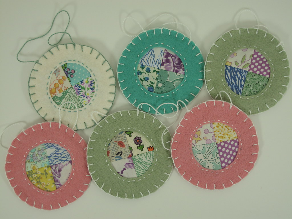 Wool felt ornaments -  Patchwork And Reverse Applique Wool Felt Ornaments By Mary Made Me