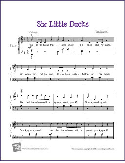 Six Little Ducks | Free Sheet Music for Easy Piano | by ...