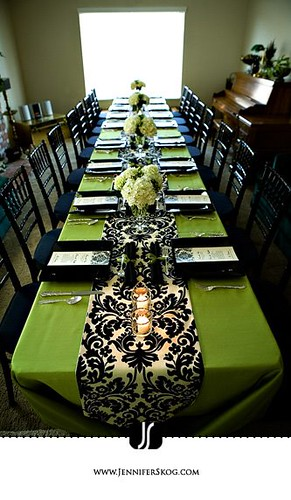 Green And Black Damask Table Decor Artisancakecompany