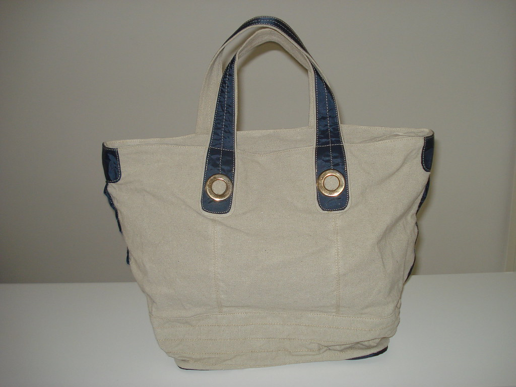 Bolsa De Tecido Cru : Bolsa tecido cru c detalhes em azul vida flickr