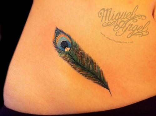 Custom peacock feather tattoo   Miguel Angel Custom Tattoo