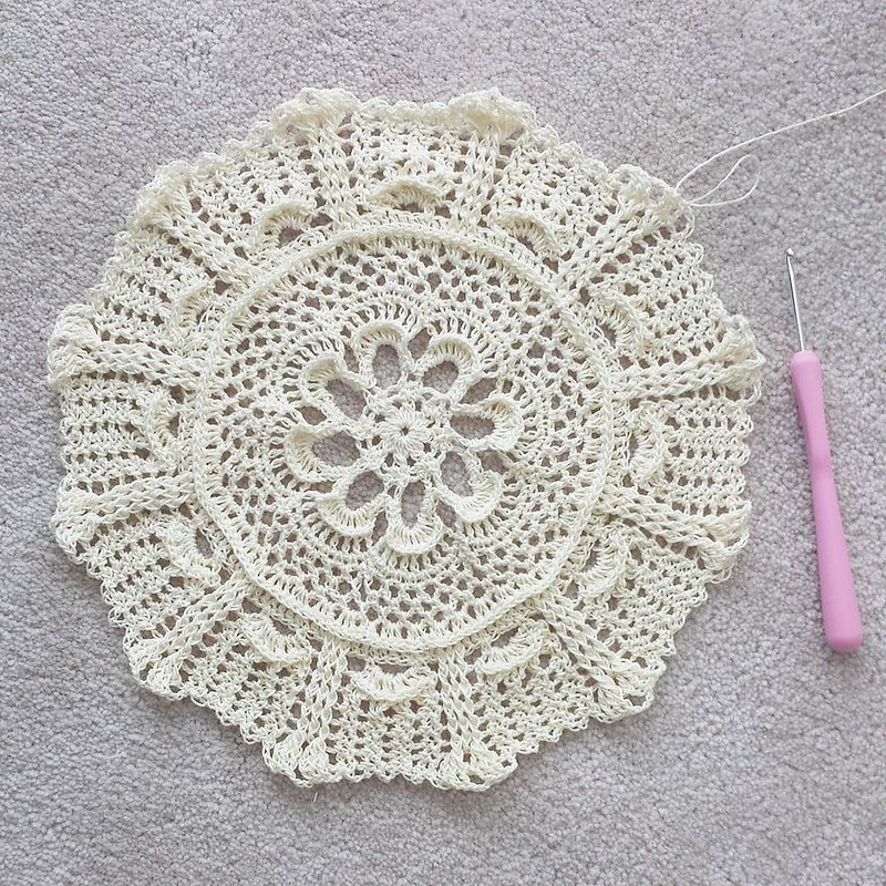 new doily in progress 😍 I bought a book of doily patterns today so I won't have to search far for my next pattern #crochetersofinstagram #crochetgirlgang #craftastherapy #doily #makersgonnamake #crochetconcupiscence