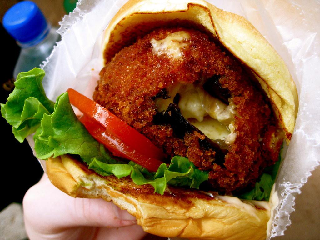 Shake shack 39 shroom burger a deep fried portabella for Mel s fish shack