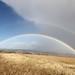 rainbow on windfarm on eyre peninsula south australia