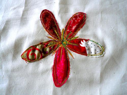 My machine embroidered flower