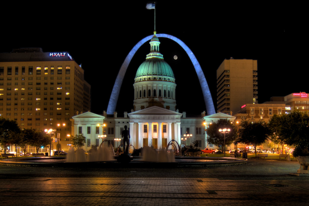 Night view from gateway arch images for St louis architecture